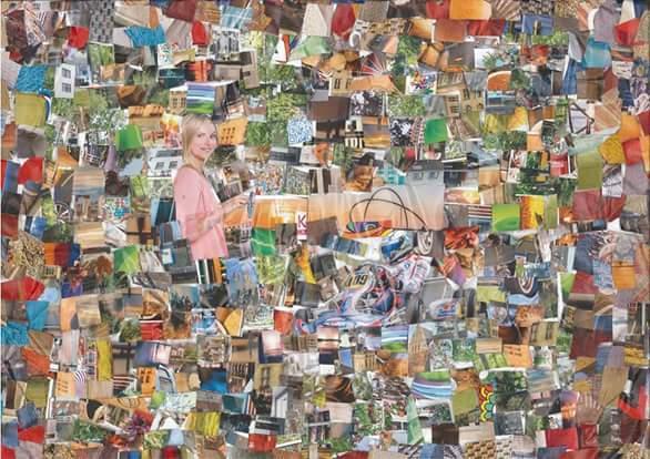 Collage, Herten, Farben, Mischtechnik, Feige, Herz