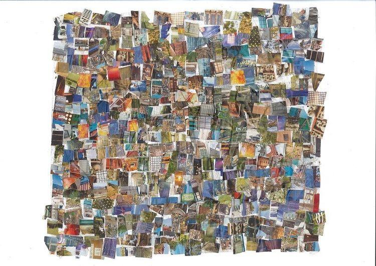 Collage, Bunt, Farben, Mischtechnik, Riese