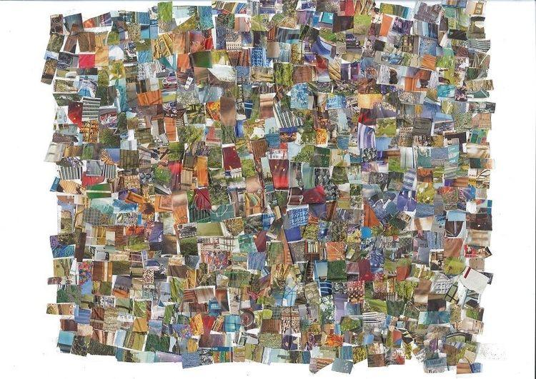 Bunt, Collage, Farben, Mischtechnik, Schere