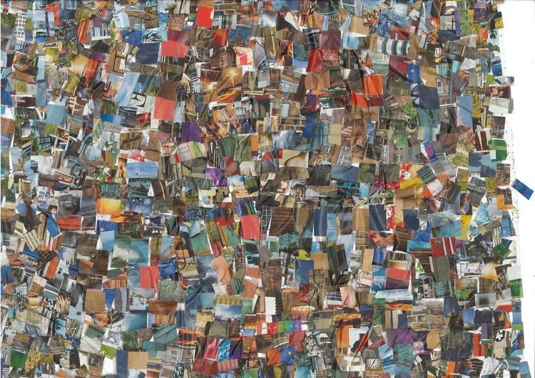 Collage, Bunt, Farben, Mischtechnik, Leben, Seh