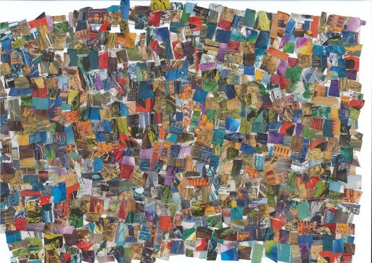 Collage, Bunt, Farben, Mischtechnik, Spiel