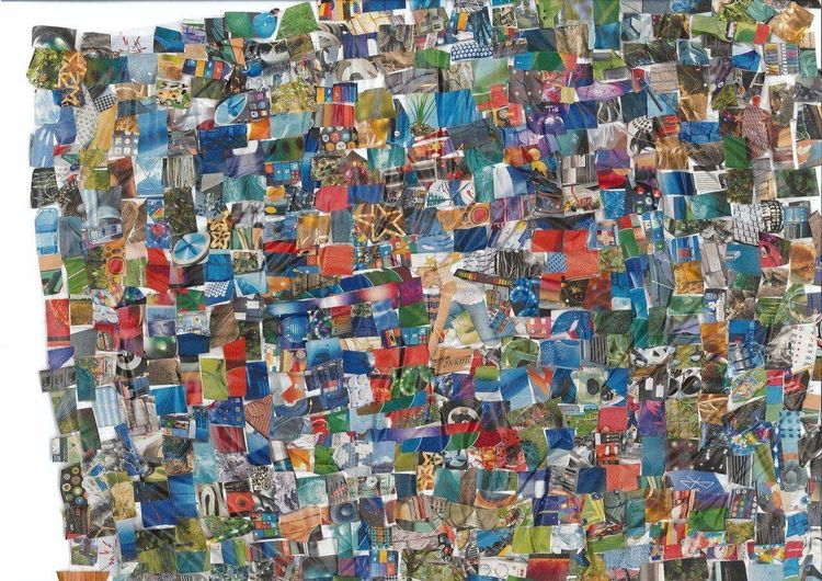 Blau, Collage, Bunt, Farben, Mischtechnik
