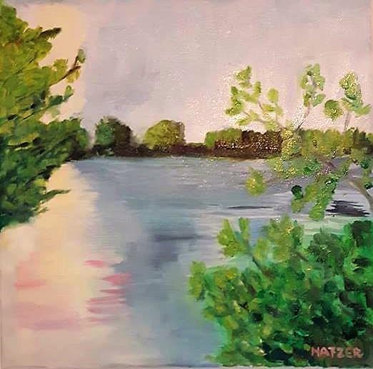 Wasser, Natur, Ölmalerei, Grün, Sonne, Blau