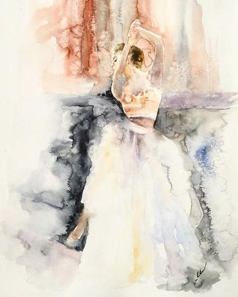 Ballerina, Aquarellmalerei, Frau, Mädchen, Stadt, Realismus