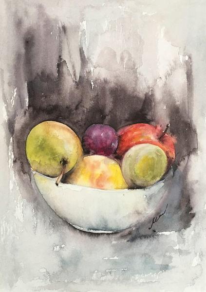 Aquarellmalerei, Stillleben, Früchte, Realismus, Aquarell