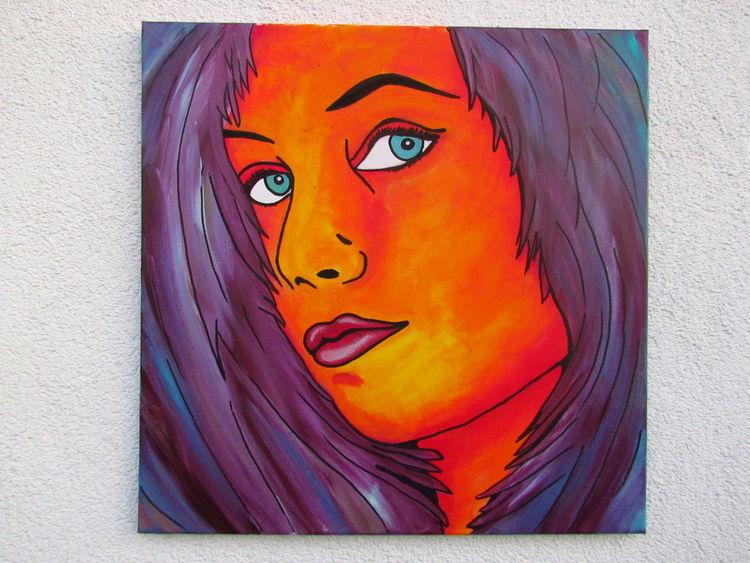 Frau, Modern, Lila, Violett, Modern art, Pop art