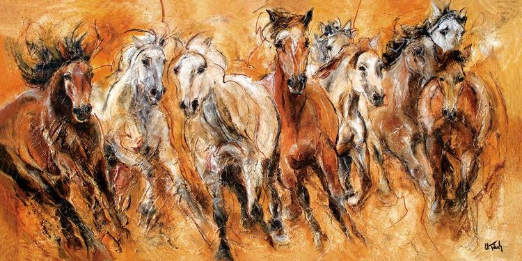Pferde, Pferdeportrait, Pferdeherde, Malerei,
