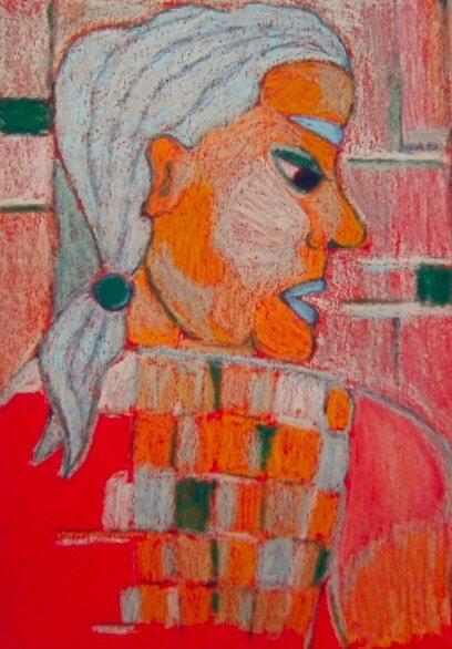 Grün, Frau, Pastellmalerei, Rot, Laster, Blau