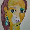 Portrait, Frau, Ausdruck, Aquarell