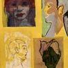 Portrait, Collage, Frau, Gelb