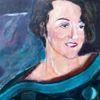 Grün, Blau, Selbstportrait, Poncho