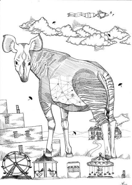 Tiere, Schwarz, Weiß, Zeichnungen