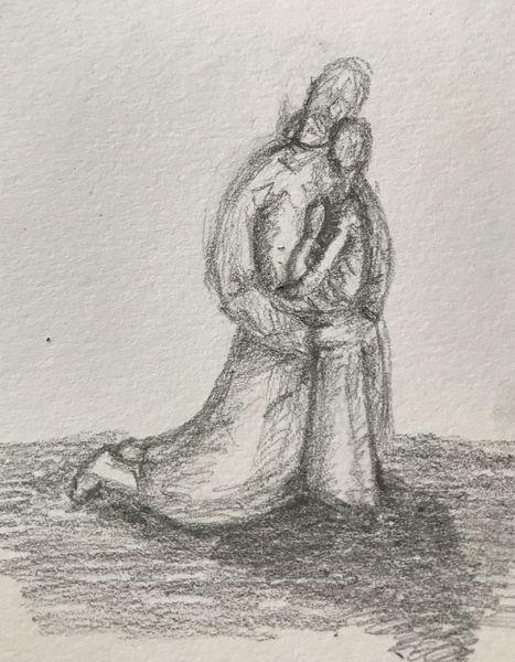 Liebe, Menschen, Trost, Bleistiftzeichnung, Kind, Skizze