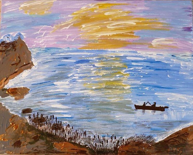 Himmel, Blau, Wasser, Berge, Ufergras, Gelb
