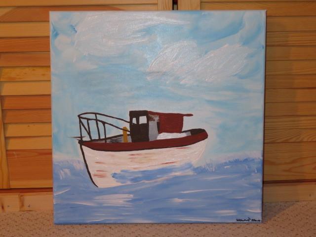 Acryl acrylmalerei, Meer, Boot, Malerei