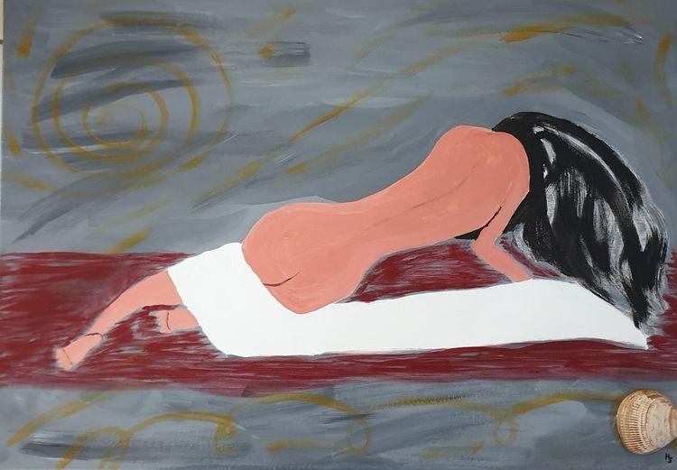 Frau, Liegend, Acrylmalerei, Malerei, Morgen