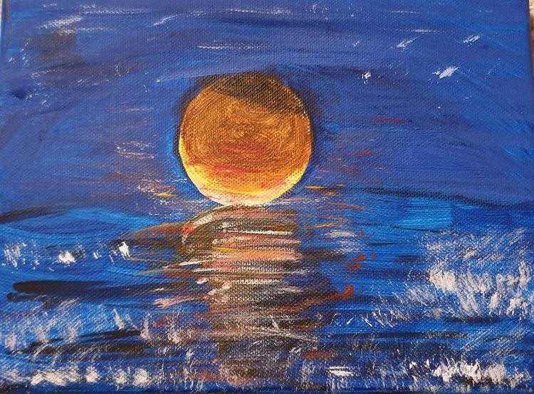 Abend, Sonnenuntergang, Meer, Malerei