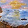 Ufer, Welle, Licht, Boot