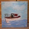 Boot, Meer, Acryl acrylmalerei, Malerei