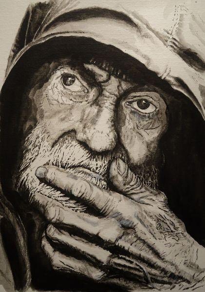 Portrait, Mann, Monochrom, Gesicht, Hand, Aquarell