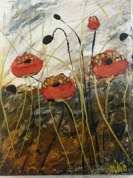 Abstrakt, Mohnblumen, Acrylmalerei, Malerei, Blumen