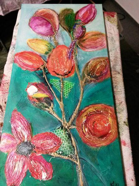 Acrylmalerei, Blumen, Paradiesvogel, Malerei
