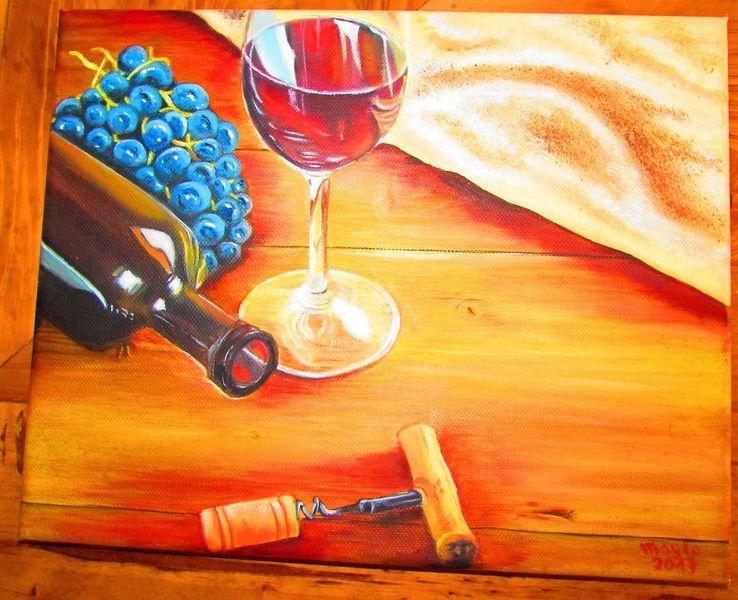 Wein, Glas, Trauben, Holztisch, Flasche, Kork