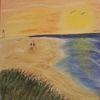 Meer, Strand, Leuchtturm, Malerei