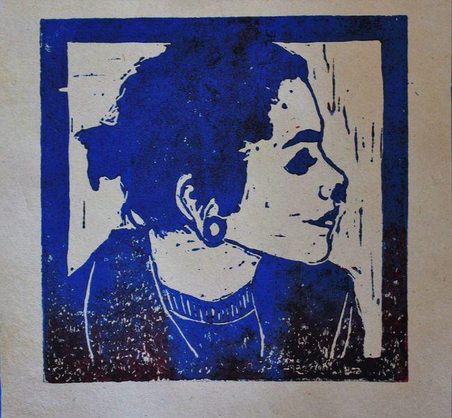 Selbstportrait, Piercing, Linolschnitt, Portrait, Tunnel, Mädchen