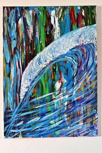 Blau, Welle, Farben, Malerei,