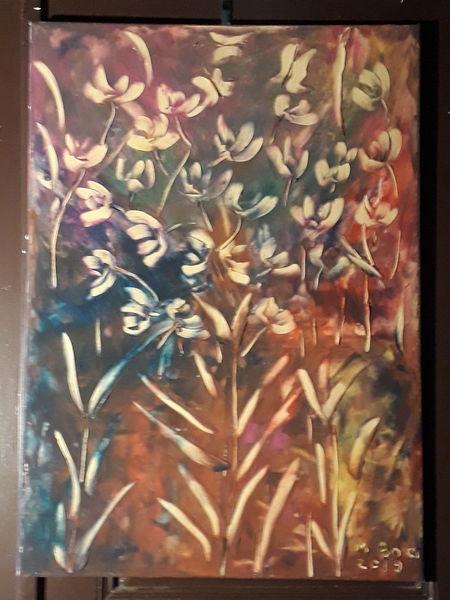 Abstrakt, Blumen, Farben, Mischtechnik, 3d