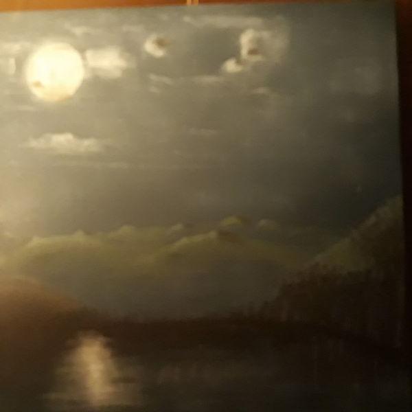 Weiß, Schwar, Landschaft, Malerei, Nacht