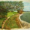 Landschaft, Küste, Strand, Malerei
