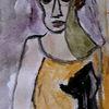 Philosoph, Person, Katze, Malerei