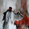 Engel, Grau, Rot, Malerei