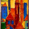 Glas, Stadt, Ansicht, Malerei