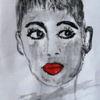 Portrait, Jung, Frau, Malerei
