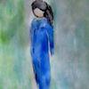Blau, Kind, Mädchen, Malerei
