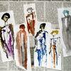 Collage, Zeitung, Mode, Mischtechnik