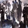 Menschen, Schwarz, Weiß, Malerei