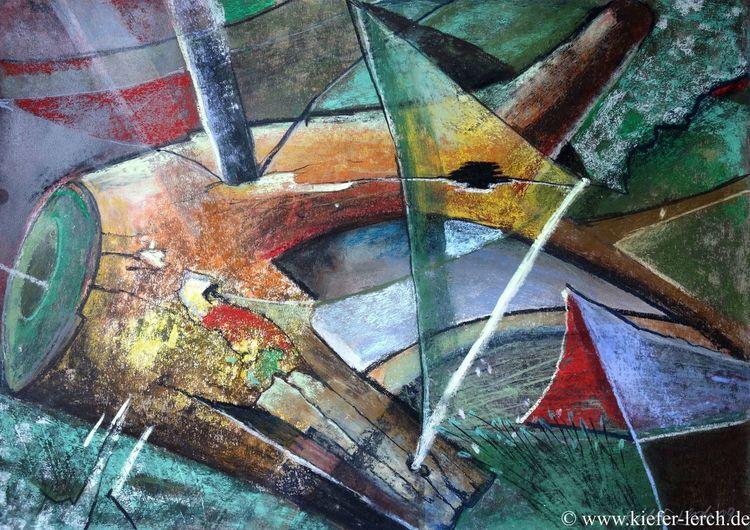Malerei modern, Rot, Acrylmalerei, Blau, Abstrakt, Malerei