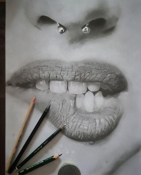 Nase, Lippen, Beißen, Piercing, Schwarzweiß, Zeichnungen