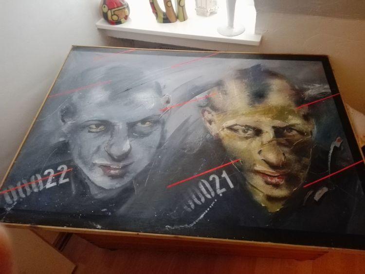 Polnisch, Gemälde, Gesicht, Blau