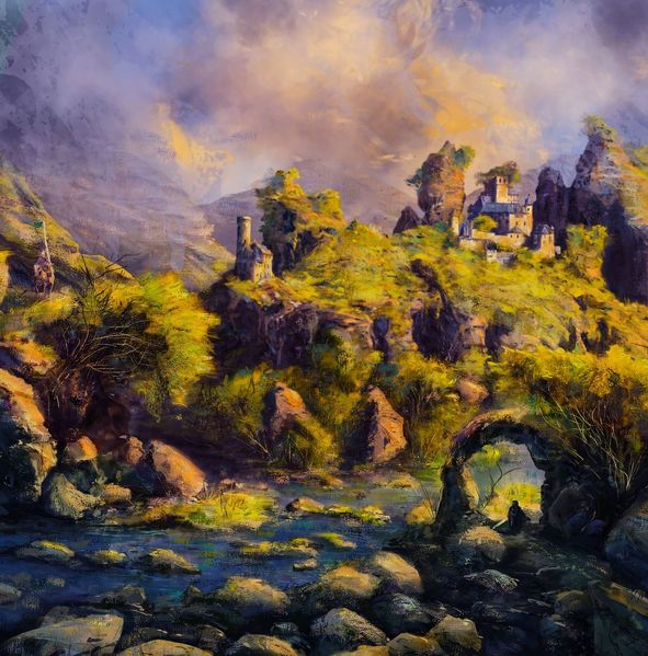 Ritter, Landschaft, Szenerie, Burg, Digitale kunst, Treffen