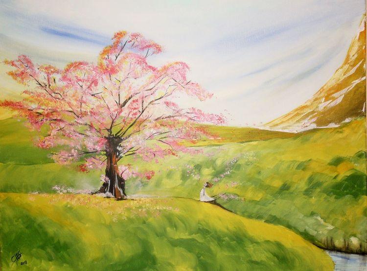 Baum, Modern art, Wiese, Berge, Acrylmalerei, Malerei