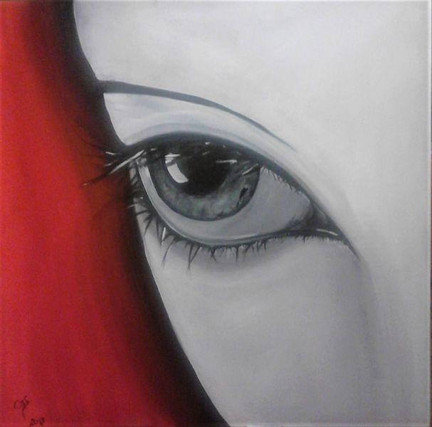 Augen, Ausdruck, Rot, Mimik, Acrylmalerei, Weiß