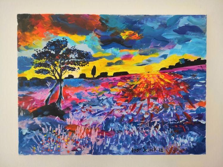 Sonne, Baum, Acrylmalerei, Farben, Landschaft, Malerei