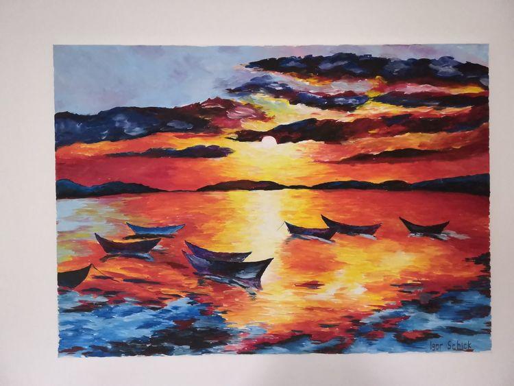 Farben, Meer, Boot, Malerei, Landschaft, Acrylmalerei