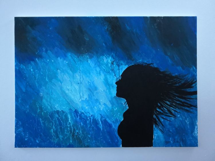 Frau, Malerei, Regen, Acrylmalerei, Farben