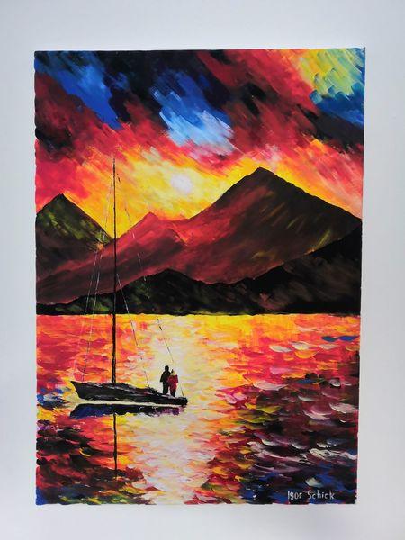 Landschaft, Meer, Acrylmalerei, Berge, Farben, Sonne